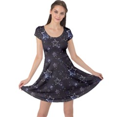 Black Blue Night With Shiny Silver Stars Cap Sleeve Dress