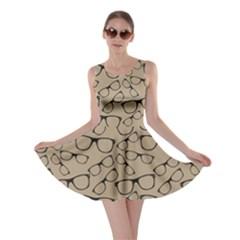 Brown Glasses Pattern Retro Sunglasses Skater Dress