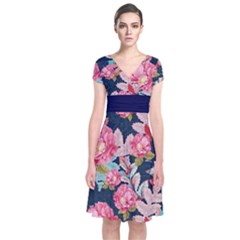 Pink & Navy Short Sleeve Front Wrap Dress by CoolDesigns