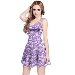 Violet Grunge Skulls Pattern Sleeveless Skater Dress by CoolDesigns