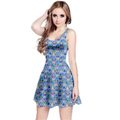 Sky Blue Day Of The Dead Skull Sleeveless Skater Dress by CoolDesigns