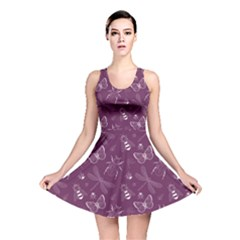 Violet Insect Pattern Reversible Skater Dress by CoolDesigns