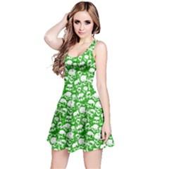 Neon Green Grunge Skulls Pattern Sleeveless Skater Dress