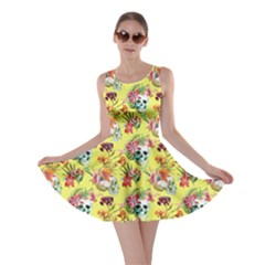 Light Yellow Skull And Flowers Pattern Skater Dress