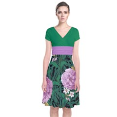 Green Floral Short Sleeve Front Wrap Dress by CoolDesigns