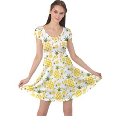 Yellow Pineapple Pattern Cap Sleeve Dress by CoolDesigns
