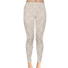 Nude White Retro Roses Lace Pattern On Beige Leggings