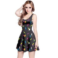 Colorful Space With Cats Saturn And Stars Sleeveless Skater Dress by CoolDesigns