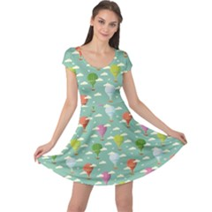 Green Retro Travel Pattern Of Balloons Cap Sleeve Dress by CoolDesigns