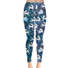 Blue White Horse On A Blue Ornamental Leggings