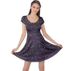 Blue Pattern Star Heart In Night Sky Cap Sleeve Dress by CoolDesigns