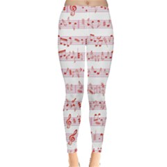 Pink Music Heart Note Sound Love With Shadow Valentine Women s Leggings