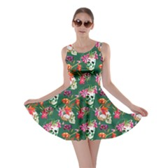 Dark Green Skull And Flowers Pattern Skater Dress