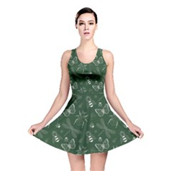 Dark Green Insect Pattern Reversible Skater Dress  by CoolDesigns
