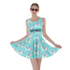 Mint Carousel Horses Pattern Skater Dress  by CoolDesigns