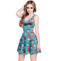 Sky Blue Mushrooms Pattern Sleeveless Dress