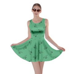 Light Green Tyrannosaurus Dinosaur Doodle Pattern Skater Dress by CoolDesigns