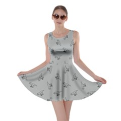 Light Gray Tyrannosaurus Dinosaur Doodle Pattern Skater Dress by CoolDesigns