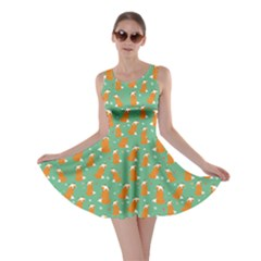 Light Green Fox Pattern Skater Dress