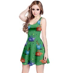 Green Dino In Mug Reversible Sleeveless Dress