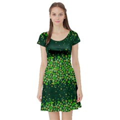 Shamrock Snowy Short Sleeve Skater Dress by CoolDesigns
