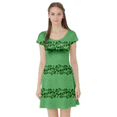 Shamrock Green Short Sleeve Skater Dress by CoolDesigns