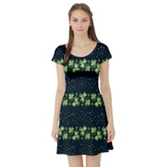 Shamrock Dark 2 Short Sleeve Skater Dress by CoolDesigns