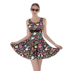 Colorful Peace Love And Music Pattern Groovy Notebook Doodle Skater Dress by CoolDesigns