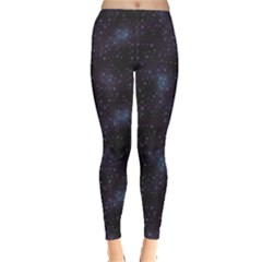 Blue Pattern Constellations Of Hearts On Night Women s Leggings
