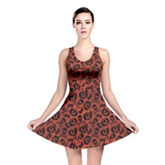 Brown Halloween With Pumpkin And Skeleton Pattern Reversible Skater Dress by CoolDesigns