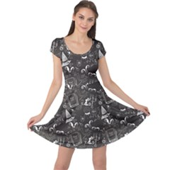 Black Chalkboard Halloween Pattern Cap Sleeve Dress