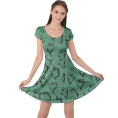 Green Halloween Seamless Design Pattern Cap Sleeve Dress by CoolDesigns