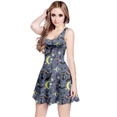 Blue Cute Pattern Night Life Cats And Bats Sleeveless Skater Dress