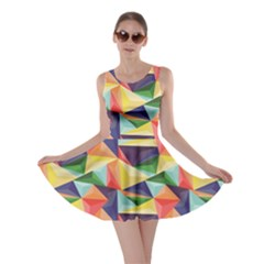 Colorful Triangle Pattern Geometric Abstract Texture Skater Dress by CoolDesigns