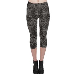 Black Halloween Spider Web Pattern Capri Leggings by CoolDesigns