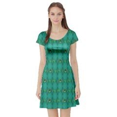 Shamrock Turquoise Short Sleeve Skater Dress by CoolDesigns