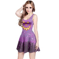Pumpkin Face Purple Reversible Sleeveless Dress by CoolDesigns