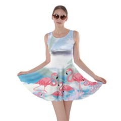 Flamingo Feather  Sky Flamingo V2 Skater Dress by CoolDesigns