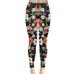 Teal & Orange Floral Leggings by CoolDesigns