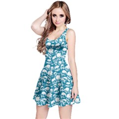 Dark Mint Grunge Skulls Pattern Sleeveless Skater Dress