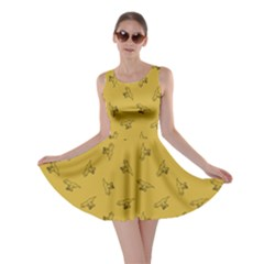 Dark Yellow Tyrannosaurus Dinosaur Doodle Pattern Skater Dress by CoolDesigns