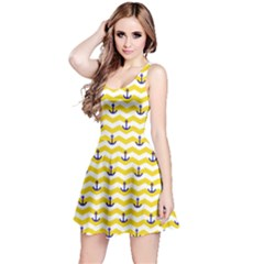 Yellow Sailor Tile Pattern With Anchor On Sleeveless Skater Dress