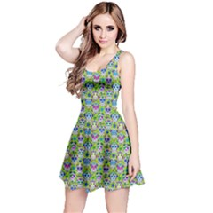 Neon Green Day Of The Dead Skull Sleeveless Skater Dress