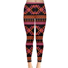 Orange & Pink Aztec Tribal Chevron Stripes Leggings