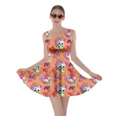Orange Skull And Flowers Pattern Skater Dress by CoolDesigns
