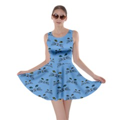 Blue Cat Face Skater Dress by CoolDesigns