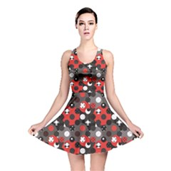 Red Pattern Retro Red Circles Polka Dot Reversible Skater Dress