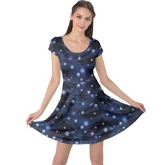 Blue Pattern Of Space Night Sky Cap Sleeve Dress by CoolDesigns
