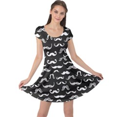 Black Pattern Hipster White Mustache Cap Sleeve Dress