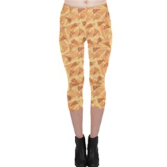 Orange Pattern Pizza Clip Art Capri Leggings by CoolDesigns